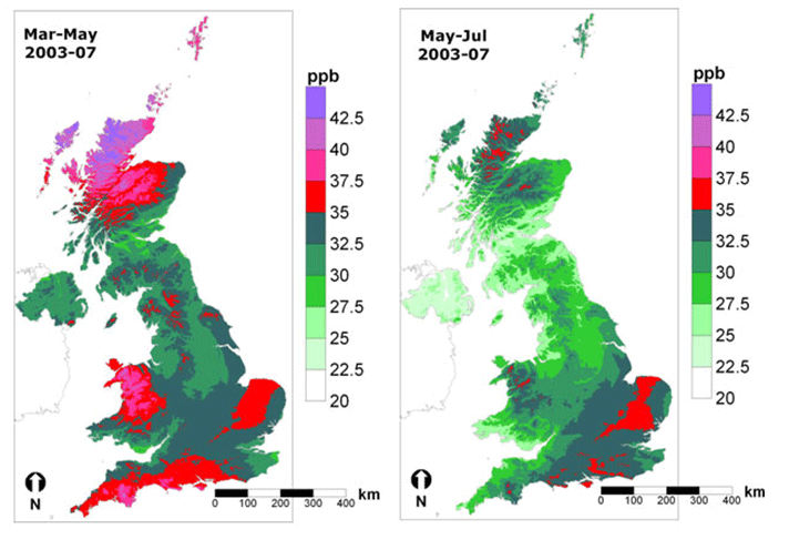 Map of ozone concentrations over the UK